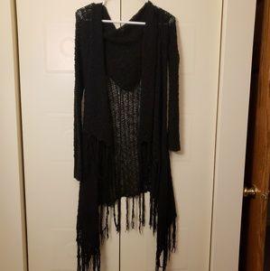 Black fringe cardigan witchy gothic hooded sweater
